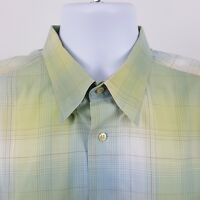 St. Croix ITALY Green Blue Yellow Plaid Check Mens S/S Casual Button Shirt Sz XL