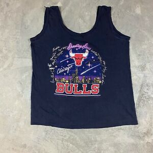 80s VTG CHICAGO BULLS Shooting Stars MICHAEL JORDAN T Shirt S Tank Top Skyline