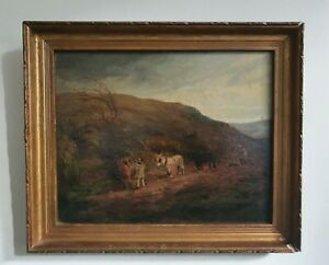 Antique Oil on Board - Farming Landscape - Horses Ploughing - David Cox? 19thC