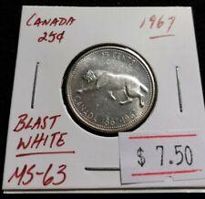 Canada 1967 25 cents Silver Bobcat Centennial Very Nice Blast White Coin (#J38)