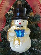 VINTAGE BLOWN GLASS SNOWMAN&MICA CHRISTMAS ORNAMENT DILLARD'S STORE GERMANY