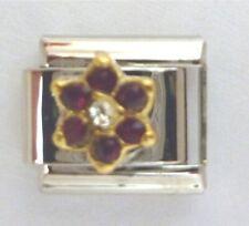 9mm Classic Size Italian Charms Birthstone Petal January Garnet