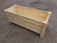 Extra Large Wooden Flower Pot 100 cm Long of Solid Wood Pine Unpainted