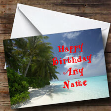 Sunny Beach Personalised Birthday Greetings Card