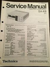 Original Technics Model SA-K6 Cassette Deck Receiver Service Manual