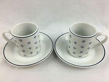 4 Pc Set Espresso Mini Coffee Cups Saucer White & Blue Basic V Trend Pacific