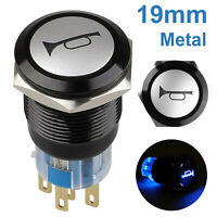 19mm 12V BLUE LED Marine Grade Car Horn Push Button Light Switch Momentary USA