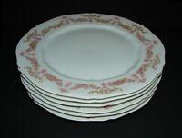 "6 Antique Vienna Austria VNN2 Porcelain Dinner Plates Pink Rose Garland 9 5/8"""
