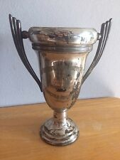 VINTAGE ANTIQUE  SILVER PLATE LOVING CUP TROPHY Model airplane FAIRCHILD