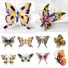 Fashion Butterfly Crystal Pearl Brooch Pin Women Lady Costume Wedding Jewelry