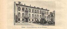 Stampa antica PAVIA Palazzo Mezzabarba Municipio 1891 Old antique print