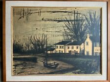 """BERNARD BUFFET LITHOGRAPH ON WOOD """"White Houses In Brittany."""" PRIVATE COLLECTION"""