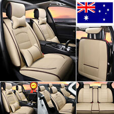 AU Stock 7× Car SEAT Cover 5-seat SUV Deluxe PU Leather Front Rear Cushion Beige