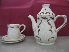 Partylite Christmas Holly Leaf Teapot Tea Light Holder 1 Cup 2 Saucers Porcelain