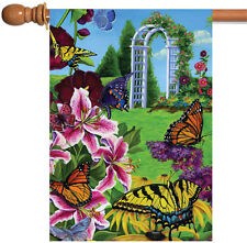 Toland Butterflies in the Garden 28 x 40 Colorful Summer Flower House Flag