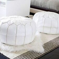 Pair (x2) Moroccan Leather Ottoman or Pouf or Pouffe - WHITE
