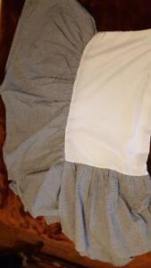 BLACK WHITE GINGHAM CHECKS INFANT NURSERY CRIB BEDSKIRT,DUST RUFFLE,COTTON BLEND