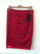 BNWT M&S blue red rose lace vintage style ladies womens skirt, size 10 Petite