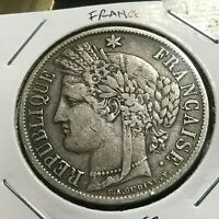 1851-A FRANCE SILVER 5 FRANCS CROWN COIN