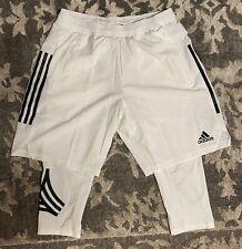 Adidas Tan Pants Tights Training Shorts White Black Mens Sz Medium DZ9545 NEW!!!
