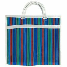 """#92 Tote Plaid Market Bag Recycled Mix Grocery Market Mesh Mexican 18""""x18"""""""