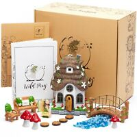 WILD PIXY Fairy Garden Accessories Set - Miniature House and Figurine Kit