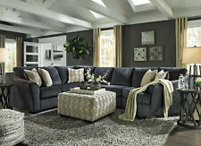Modern 3 piece Sectional Living Family Room Dark Gray Fabric Sofa Couch Set IG2G