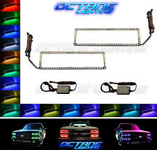 89-99 Chevy GMC Truck Color Changing LED RGB Lower Headlight Halo Rings Pair