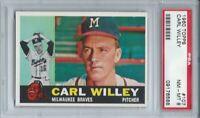 1960 TOPPS #107 CARL WILLEY, PSA 8 NM-MT, MILWAUKEE BRAVES,  L@@K !