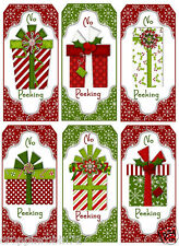 SET OF 12 CHRISTMAS PRESENTS (103) SCRAPBOOK CARD EMBELLISHMENTS HANG/GIFT TAGS