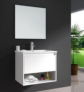 Badmöbel Set EDEN 60 Weiß Waschtisch mit Keramik-Waschbecken + Spiegel