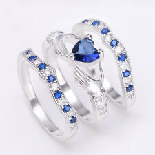 925 Sterling Silver Blue Sapphire CZ Heart Irish Claddagh Ring Wedding Jewelry