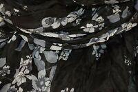 Schöner Schal Damen mit Blumen, Blättern, SchwarzGrau, weiche, pflegel. Viskose