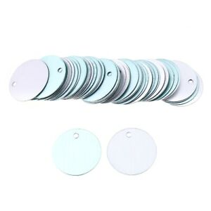 50x Aluminium Blank Stamping Tags Flat Round Padent for Jewellery Making Silver