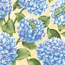 Hydrangea Blue~Hydrangeas on Yellow Cotton Fabric by Benartex