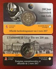 """Belgien 2 Euro Gedenkmünze, 2017, """" Universität von Lüttich"""", Coincard, flämisch"""