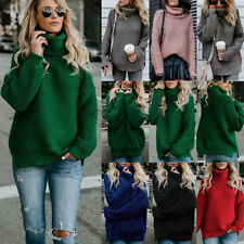 UK Womens Winter Turtle Neck Baggy Tops Chunky Knitted Oversized Sweater Jumper