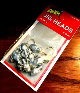 Arkie 1/16 oz. Unpainted Jig Heads with Gold Fishing Hooks (10-pack) #REN-494