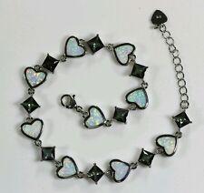 """White Fire Opal Rainbow Topaz Heart Silver Bracelet 8 7/8"""""""