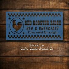 Red Rooster Bed and Breakfast Farmhouse Stencil, Reusable Stencil, Chicken Stenc
