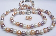 Beautiful 7-8mm multicolor pearl necklace freshwater pearl bracelet earrings