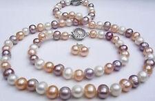 Beautiful 7-8mm multicolor pearl necklace freshwater pearl bracelet earrings