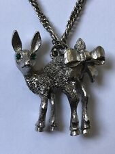 Rare Vintage Baby Deer Fawn With Green Rhinestones Eyes & Bow Pendant Necklace