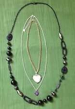 Bundle joblot three necklace BEAUTIFUL ❤ Heart Murano glass small glass, black