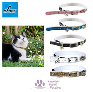 Rogz Trendycat Fur Backed Cat Collar Pin Buckle Close & Safety Elastic 11mm Wide