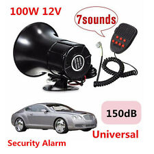 7 Sound 100W 12V Super Loud Car Warning Police Fire Siren Horn PA Speaker System