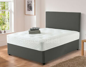 Luxury Suede Velvet Divan Bed with Headboard and Mattress High Quality Finish