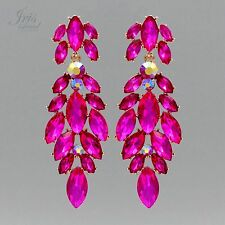 18K Gold Plated Fuchsia Crystal Rhinestone Chandelier Drop Dangle Earrings 05620