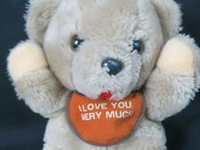 VINTAGE PLUS FACTORY ROUND TAN TEDDY BEAR I LOVE YOU VERY MUCH BABY BIB PLUSH