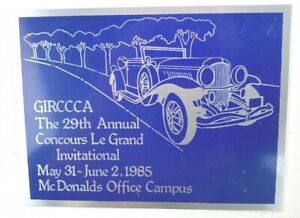 Vintage Aluminum Badge 1985 29th Annual Concours Le Grand Invitational Collector